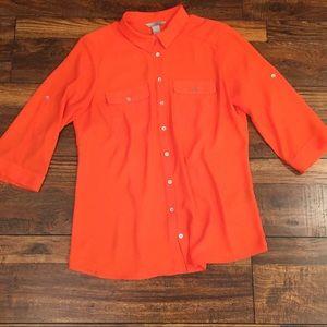 Orange H&M Button Down 3/4 Sleeve Blouse